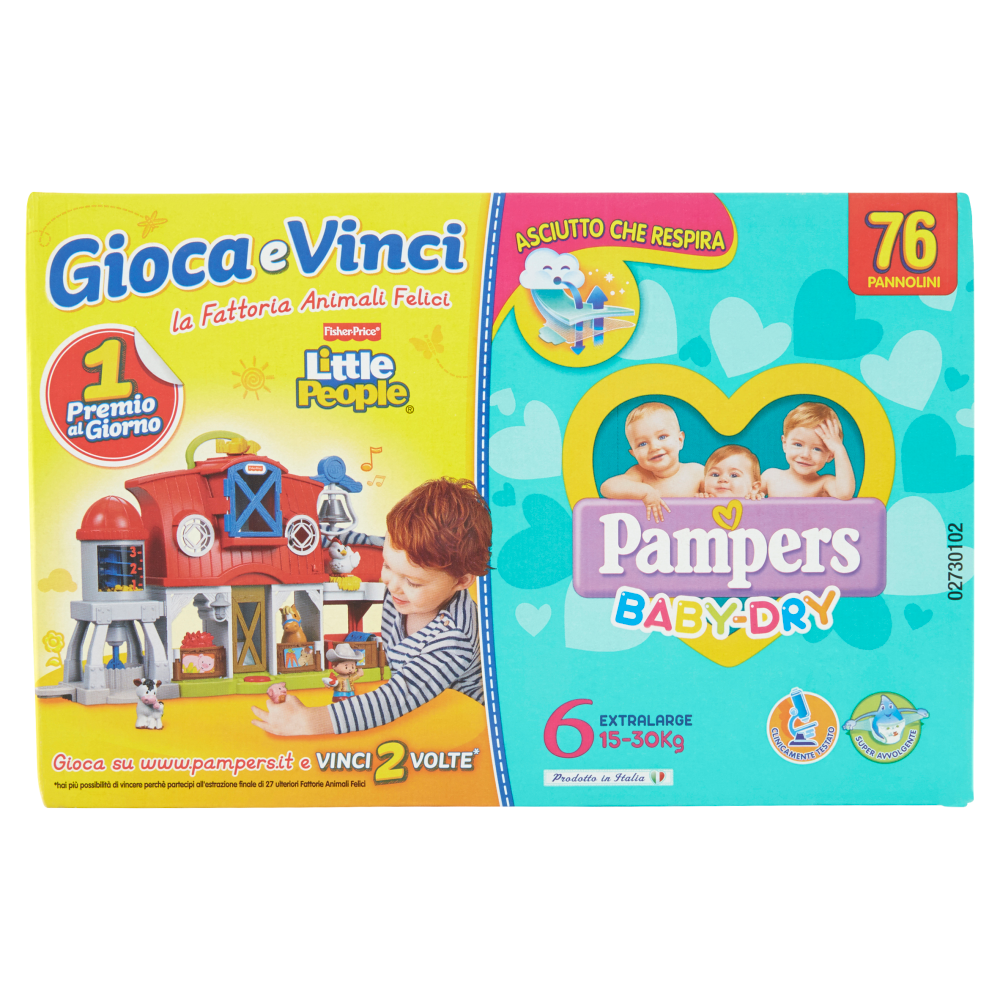 Pampers Baby Dry Extra Large Quadripacco (15-30 Kg) 76 Pannolini